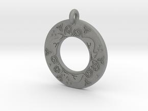 Celtic Cat Annulus Donut Pendant in Gray PA12