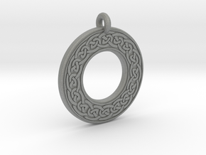 Celtic Knotwork Annulus Donut Pendant in Gray PA12