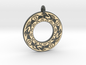 Celtic horse Annulus Donut Pendant in Glossy Full Color Sandstone