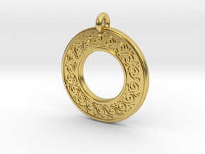 Sacred Tree Annulus Donut Pendant in Polished Brass