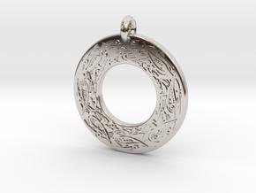 Celtic Birds Annulus Donut Pendant in Rhodium Plated Brass