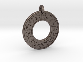 Celtic hare Rabbit Annulus Donut Pendant in Polished Bronzed-Silver Steel