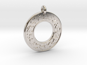 Celtic hare Rabbit Annulus Donut Pendant in Platinum