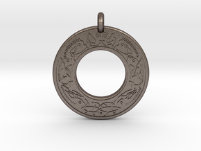 Cerridwen Celtic Goddess Annulus Donut Pendant in Polished Bronzed-Silver Steel