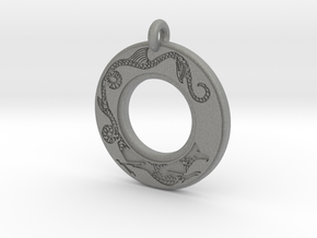 Dragon Annulus Donut Pendant in Gray PA12