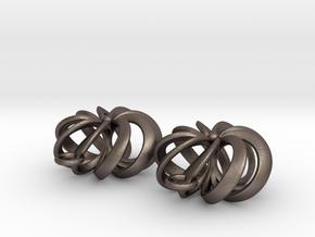 Rosette - Earrings in cast metals or steel in Polished Bronzed-Silver Steel