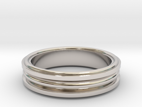 Modern Channel ring Size 9.5 in Rhodium Plated Brass