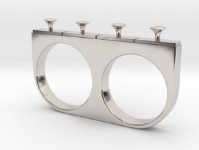 4-Drawer Ring in Rhodium Plated Brass