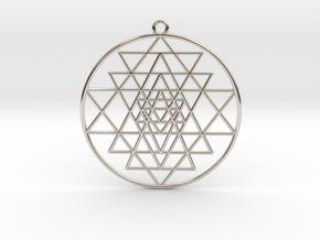 """Sri Yantra Pendant Optimal 2"""" Pendant in Platinum"""