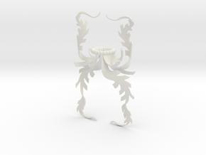 Fern Mantling (Asymmetrical) in White Natural Versatile Plastic: Small