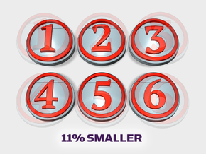 10x (smaller) Circle Numbers 1-6 : Shoulder Insign in Smooth Fine Detail Plastic
