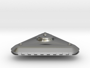 Small Triangular UFO Game Piece in Polished Silver
