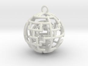 Caged sphere pendant in White Premium Versatile Plastic