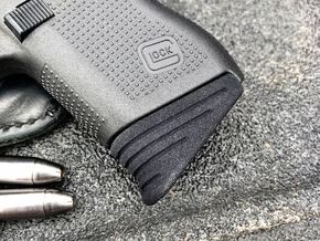Glock 43 Pinky Extension: Madhouse Design - Medium in Black Natural Versatile Plastic