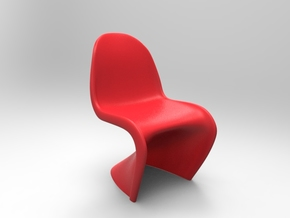 Panton Chair 5.5cm (2.2 inches) Height in Red Strong & Flexible Polished