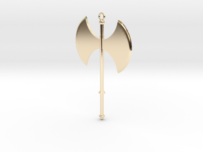 Battle Axe Charm (Pendant) #1 in 14k Gold Plated Brass