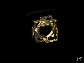 Design Cubic Ring in 18k Gold Plated Brass: 6 / 51.5