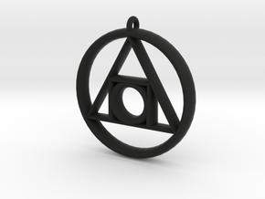 Philosopher's stone Symbol Pendant in Black Premium Versatile Plastic