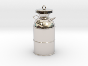 Old Milk Can Charm (Pendant) in Rhodium Plated Brass