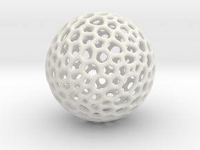 D20 lattice sphere in White Natural Versatile Plastic