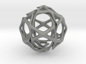 Icosidodecahedron Twisted members  in Gray Professional Plastic