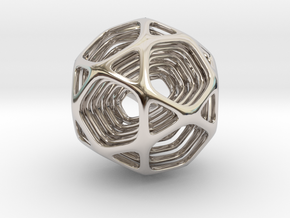 Icosidodecahedron Nested in Rhodium Plated Brass