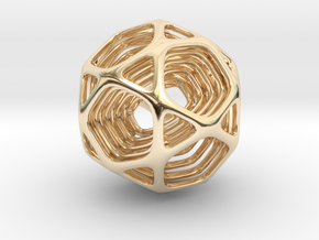 Icosidodecahedron Nested  in 14K Yellow Gold