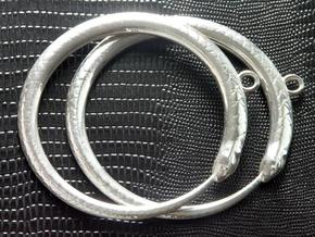 Snake Eating Tail Pendant in Polished Silver