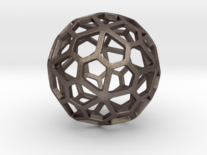 Pentagonal Hexecontahedron in Polished Bronzed-Silver Steel: Small