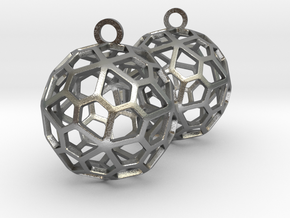 Pentagonal Hexecontahedron Earrings in Natural Silver