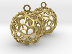 Pentagonal Hexecontahedron Earrings in Natural Brass