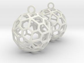 Pentagonal Hexecontahedron Earrings in White Natural Versatile Plastic