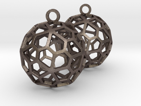 Pentagonal Hexecontahedron Earrings in Polished Bronzed-Silver Steel