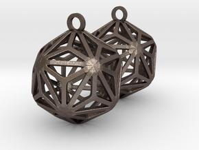 Triakis Icosahedron Earrings in Polished Bronzed-Silver Steel