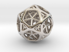 Nested dodeca & Icosa inside Icosidodecahedron in Rhodium Plated Brass