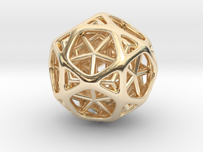 Nested dodeca & Icosa inside Icosidodecahedron in 14K Yellow Gold