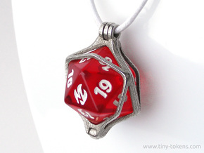 Dice Pendant - D20 - 22 mm (MTG Spindown) in Polished Bronzed-Silver Steel: Medium