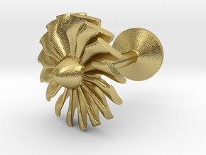Airliner engine fan cufflink in Natural Brass