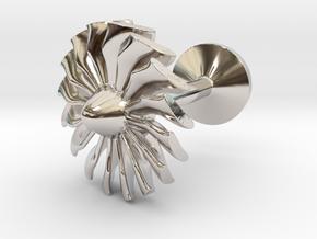 Airliner engine fan cufflink in Rhodium Plated Brass