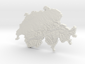 Switzerland Topomap in White Natural Versatile Plastic