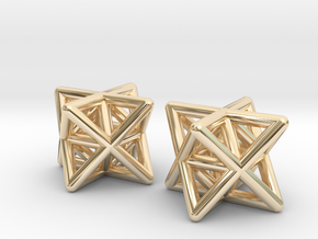 Stellated Octahedron Earrings in 14K Yellow Gold