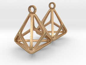Triakis Tetrahedron Earrings in Natural Bronze