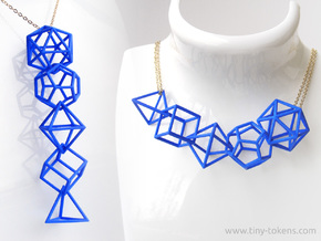 Platonic Solids Wireframe Pendant in Blue Processed Versatile Plastic