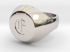"""Initial Ring """"E"""" in Rhodium Plated Brass"""