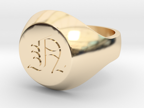 "Initial Ring ""N"" in 14k Gold Plated Brass"