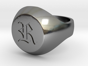 """Initial Ring """"R"""" in Polished Silver"""