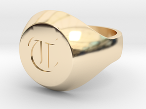 "Initial Ring ""T"" in 14k Gold Plated Brass"