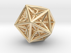 Icosahedron & Dodecahedron Struts Connected in 14K Yellow Gold