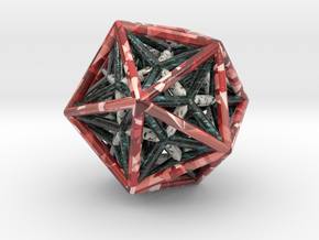 Icosahedron & Dodecahedron Struts Connected in Glossy Full Color Sandstone