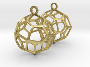 Pentagonal Icositetrahedron Earrings in Natural Brass